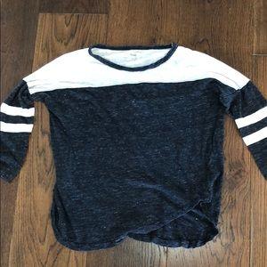 3 quarter sleeve blacks and white shirt